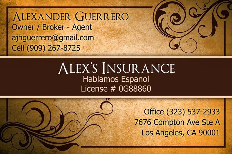 Alexs Insurance | insurance agency | 2654, 7676 Compton Ave, Los Angeles, CA 90001, USA | 3235372933 OR +1 323-537-2933