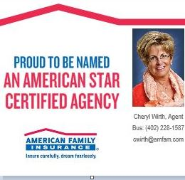 American Family Insurance - Cheryl Wirth   insurance agency   301 S 6th St #12, Beatrice, NE 68310, USA   4022281587 OR +1 402-228-1587