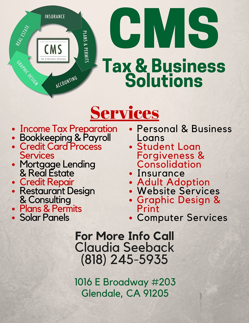 CMS Tax and Business Solutions | insurance agency | 1016 E Broadway #203, Glendale, CA 91205, USA | 8186962727 OR +1 818-696-2727