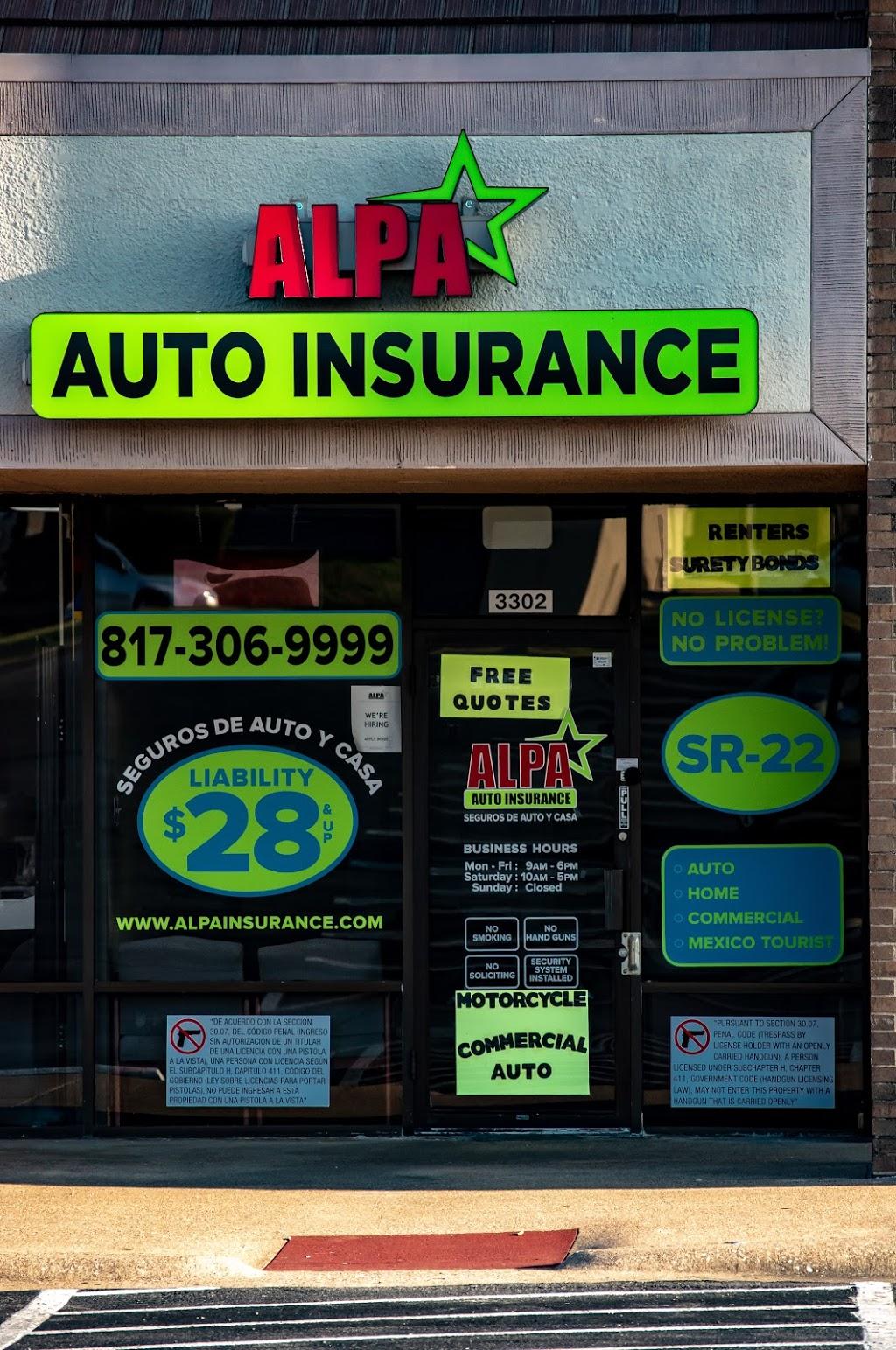 Alpa Auto Insurance | insurance agency | 3302 Harwood Rd, Bedford, TX 76021, USA | 8173069999 OR +1 817-306-9999