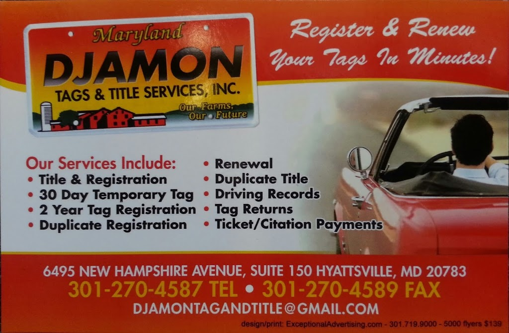Djamon Insurance Inc | insurance agency | 6495 New Hampshire Ave NE #150, Hyattsville, MD 20783, USA | 3012704587 OR +1 301-270-4587